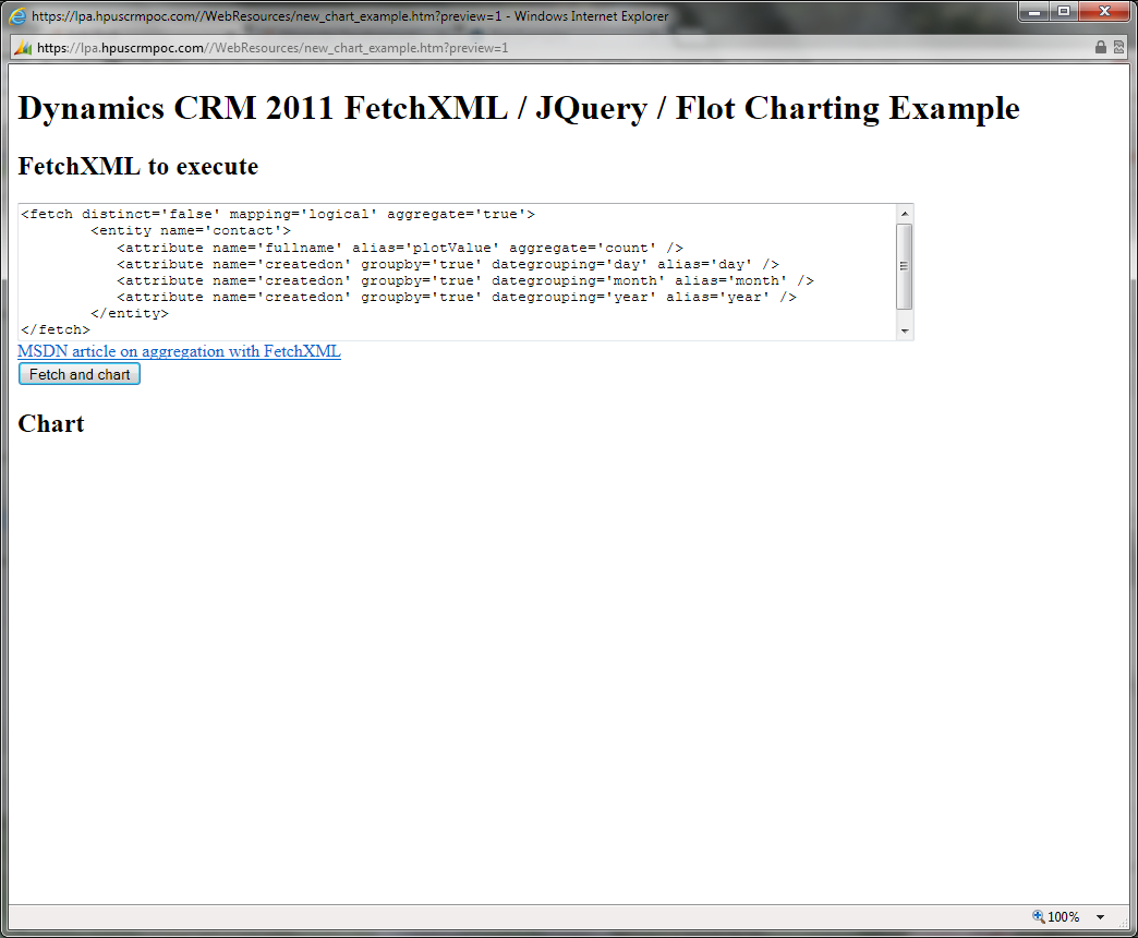 The FetchXML / JQuery / Flot example page
