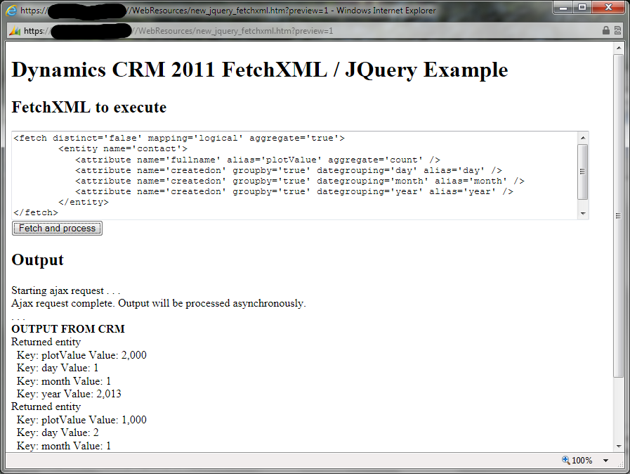 The FetchXML / JQuery example page showing output
