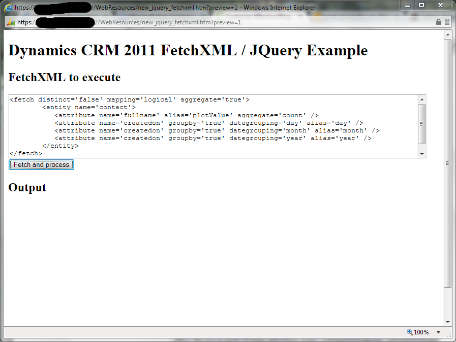 The FetchXML / JQuery example page
