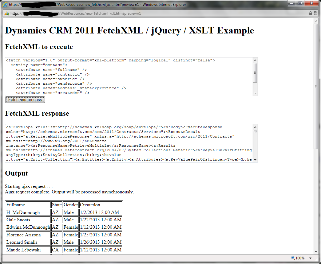 The FetchXML / jQuery / XSLT example page showing output