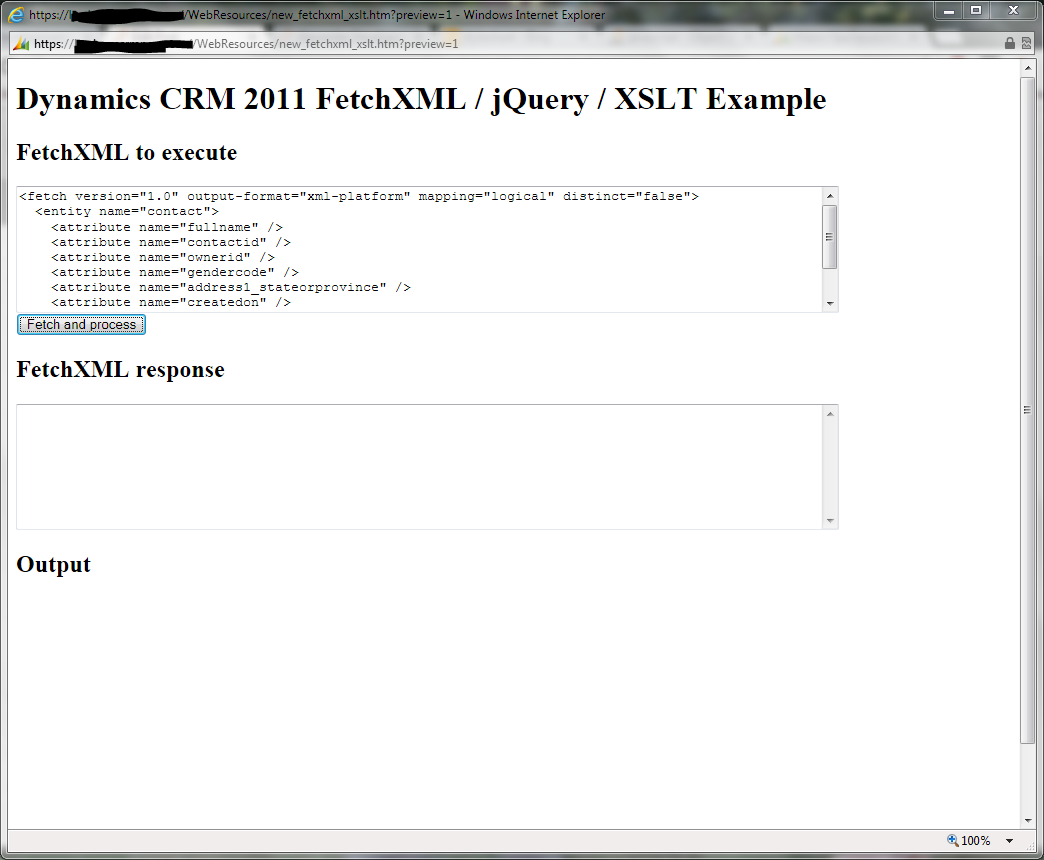 The FetchXML / jQuery / XSLT example page