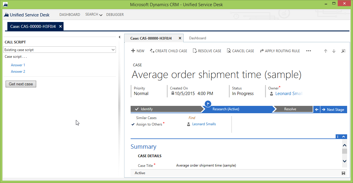 Get next case functionality for CRM Unified Service Desk