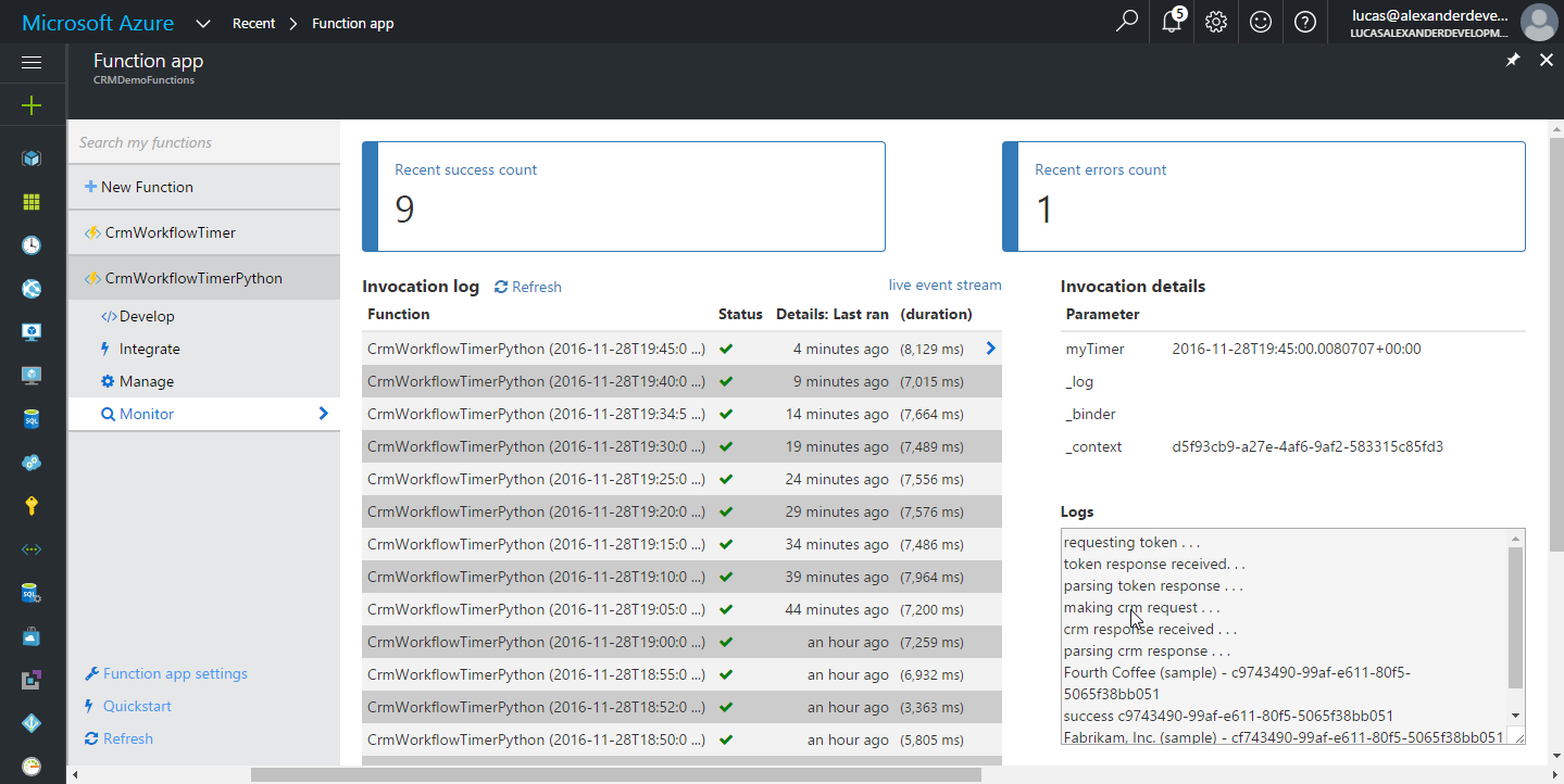Invocation logs