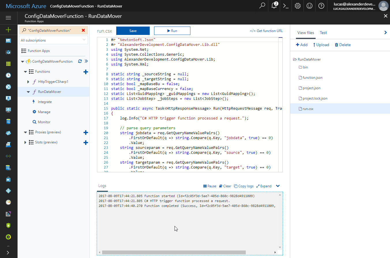 Running Dynamics 365 Configuration Data Mover jobs in Azure