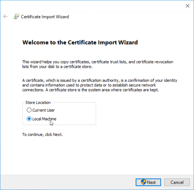 Install application certificate - step 1