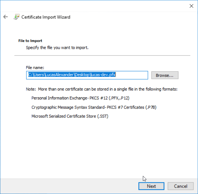Install application certificate - step 3