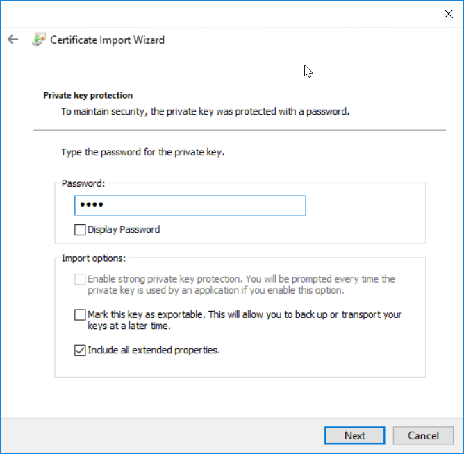 Install application certificate - step 4