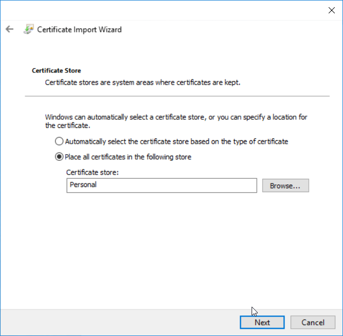 Install application certificate - step 7