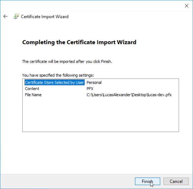 Install application certificate - step 8