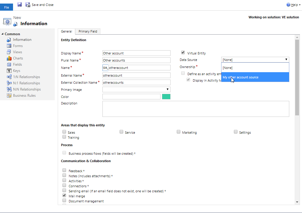 Using Dynamics 365 virtual entities to show data from an external